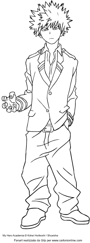 katsuki bakugo from my hero academia coloring page