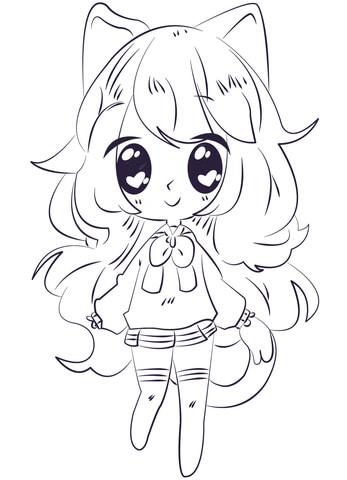 kawaii anime girl coloring page free printable coloring pages
