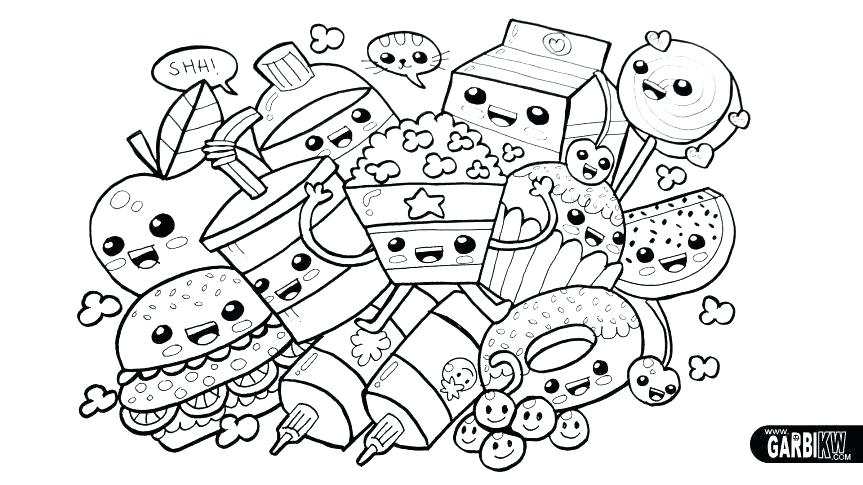 kawaii food coloring pages collection fun for kids