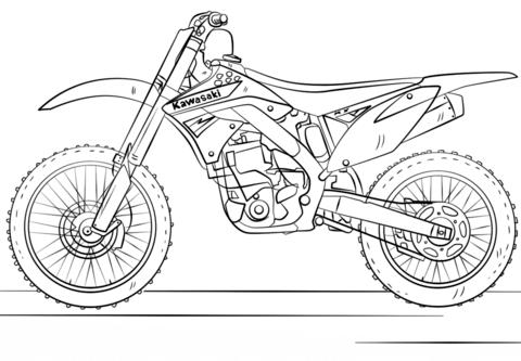 kawasaki motocross bike omalovnka free printable coloring