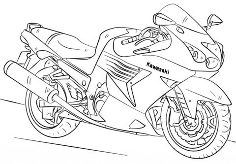 kawasaki motorcycle coloring page free printable coloring