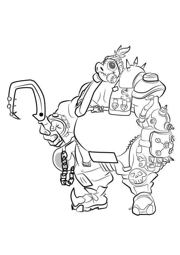 kids n fun coloring page overwatch road hog