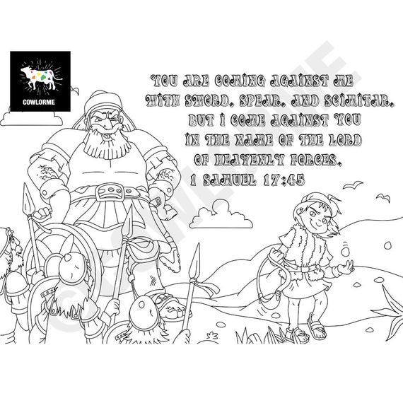 kids sunday school david and goliath coloring page bible coloring kids 1 samuel 1745 verse coloring page printable coloring page pdf