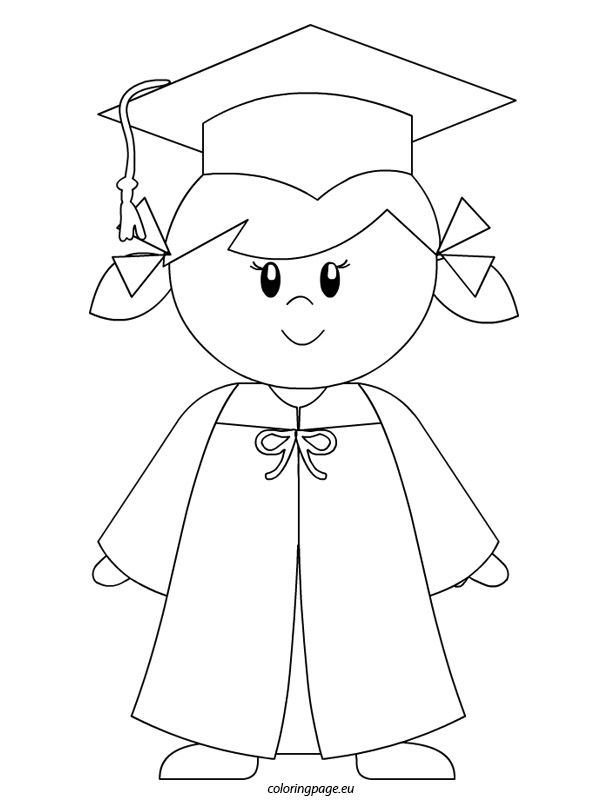 kindergarten graduate girl coloring page back to school