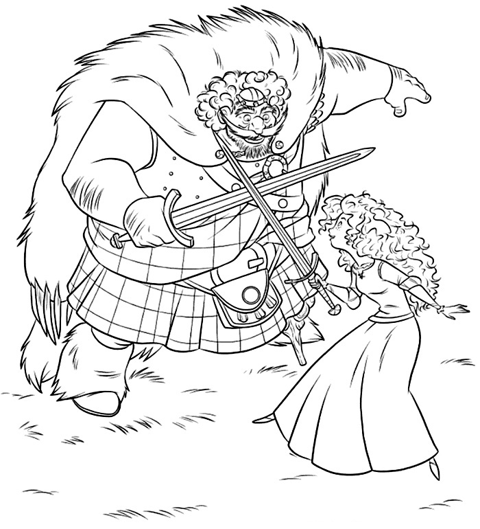 king fergus and princess merida kizi free coloring