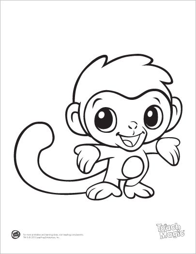 leapfrog printable ba animal coloring pages monkey 3