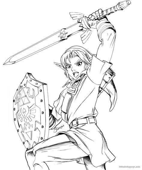 legend of zelda link coloring pages free printable zelda
