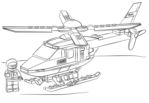 lego police helicopter coloring page free printable