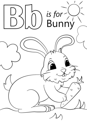 letter b is for bunny coloring page free printable