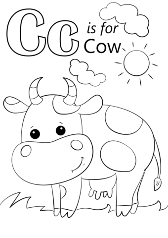 letter c is for cow coloring page from letter c category