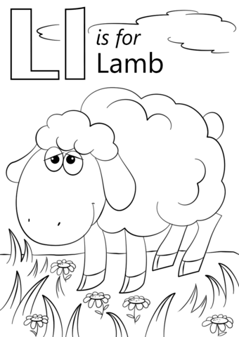 letter l is for lamb coloring page from letter l category