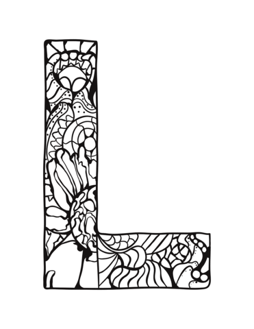 letter l zentangle coloring page free printable coloring pages