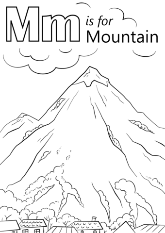 letter m is for mountain coloring page free printable