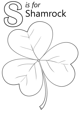 letter s is for shamrock coloring page free printable