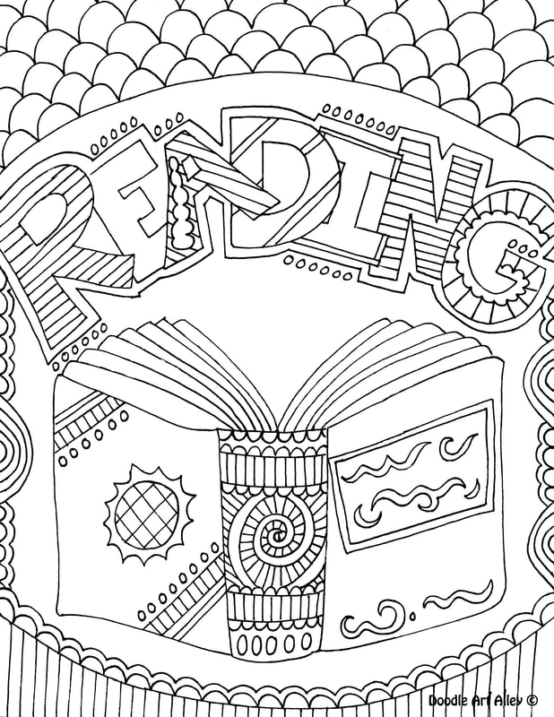 library coloring pages classroom doodles