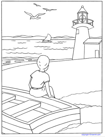 lighthouse coloring page kinderart