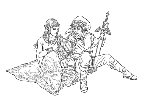 link and zelda coloring page free printable coloring pages