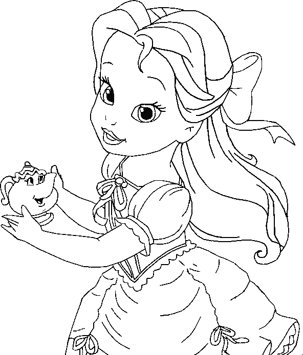 little belle coloring for kids princess coloring pages