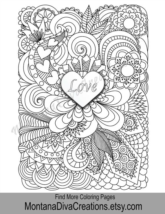 love coloring adult coloring page printable coloring art therapy pretty pattern printable coloring page instant download