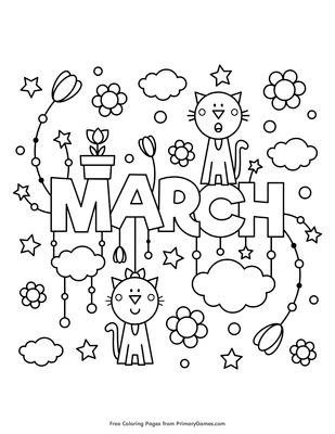 march coloring page free printable pdf from primarygames