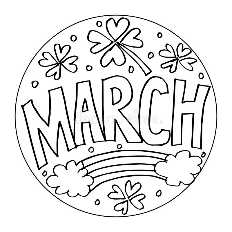 march coloring pages for kids stock vector illustration of