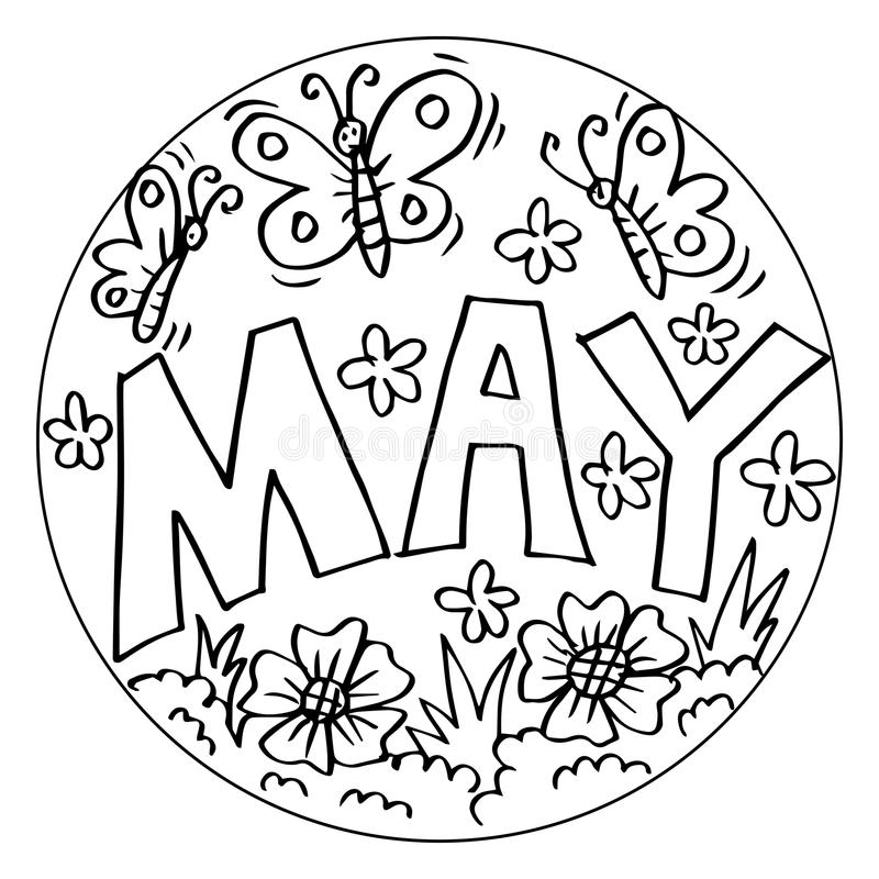 may coloring pages for kids stock illustration