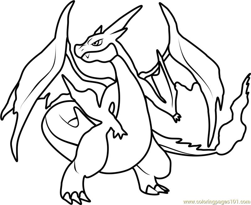 mega charizard y pokemon coloring page free pokmon