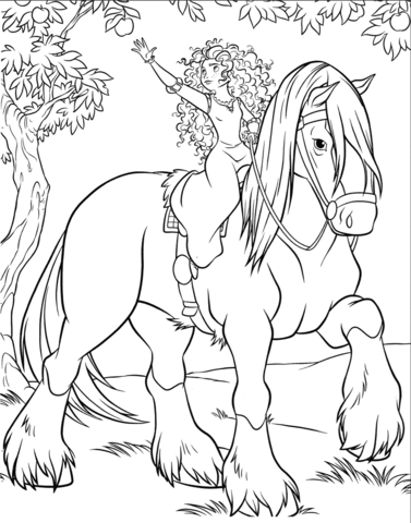 merida is riding angus coloring page free printable
