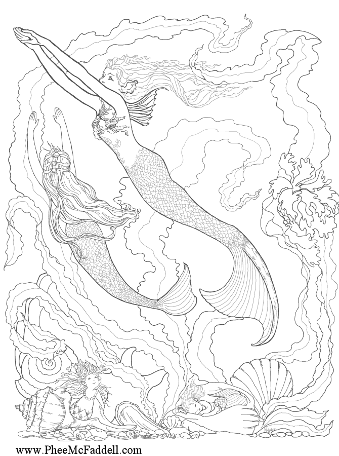 mermaid coloring pages for adults timeless miracle