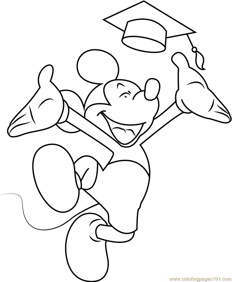 mickey mouse complete his graduation coloring page free