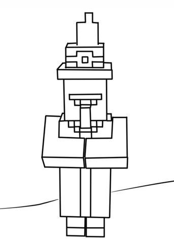minecraft witch coloring page free printable coloring pages