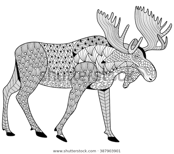 moose coloring page adults zen tangle stock vector royalty