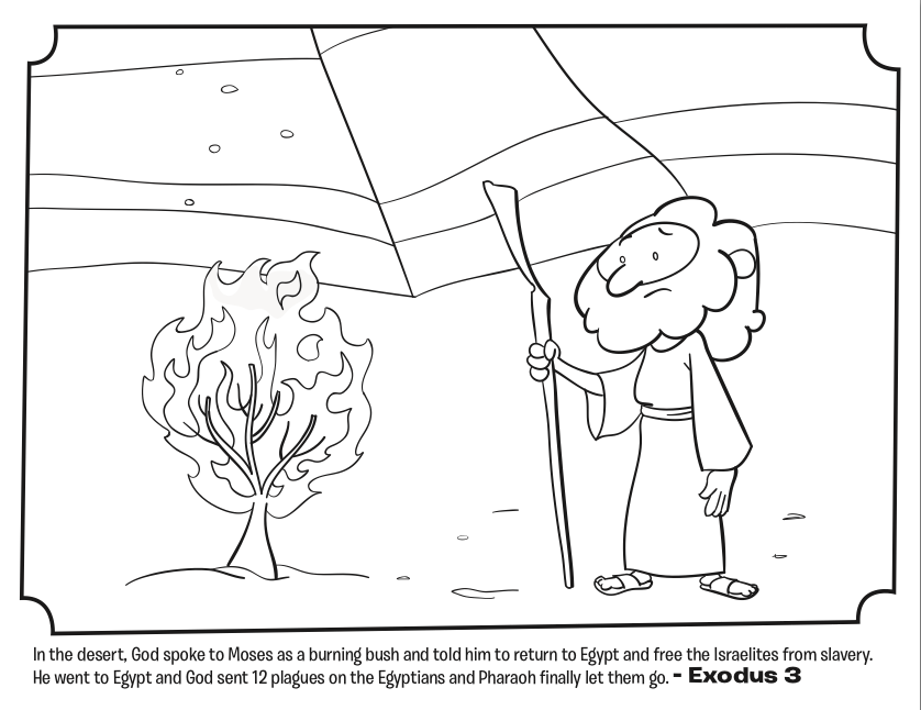 moses and the burning bush bible coloring pages whats in