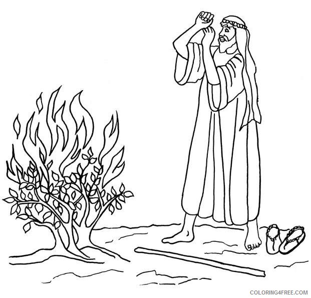 moses coloring pages the burning bush coloring4free