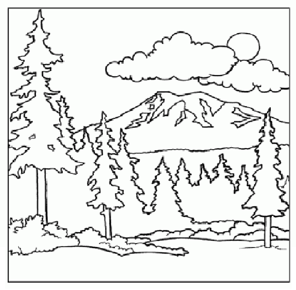 mountain coloring page children coloring pages printable