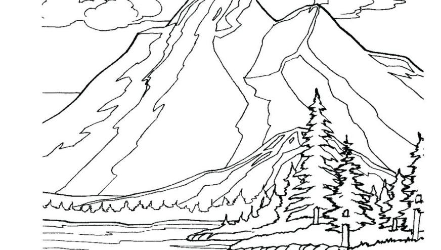 mountain landscape coloring pages at getdrawings free