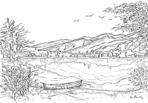 mountain landscape coloring pages landscapes coloring pages