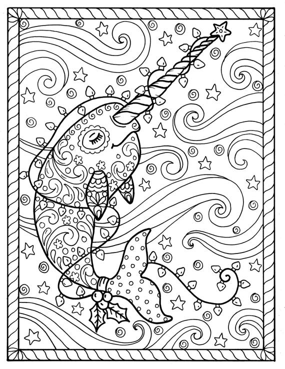 narwhal christmas coloring pages adult coloring books digi stamp whales digital files jpg