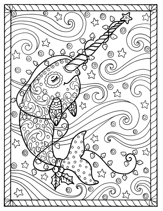 narwhal christmas coloring pages adult coloring books digi