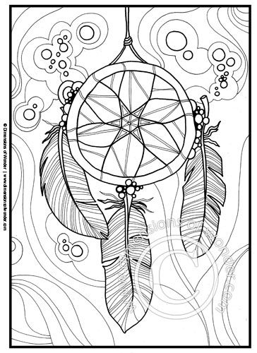 native american coloring pages printable dreamcatcher