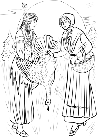 native american woman sharing turkey with pilgrim woman