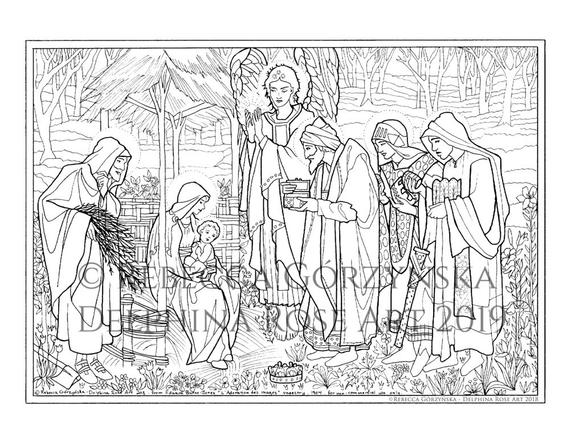 nativity coloring page adoration of the magi