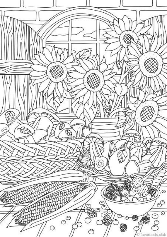 nature gifts printable adult coloring page from favoreads