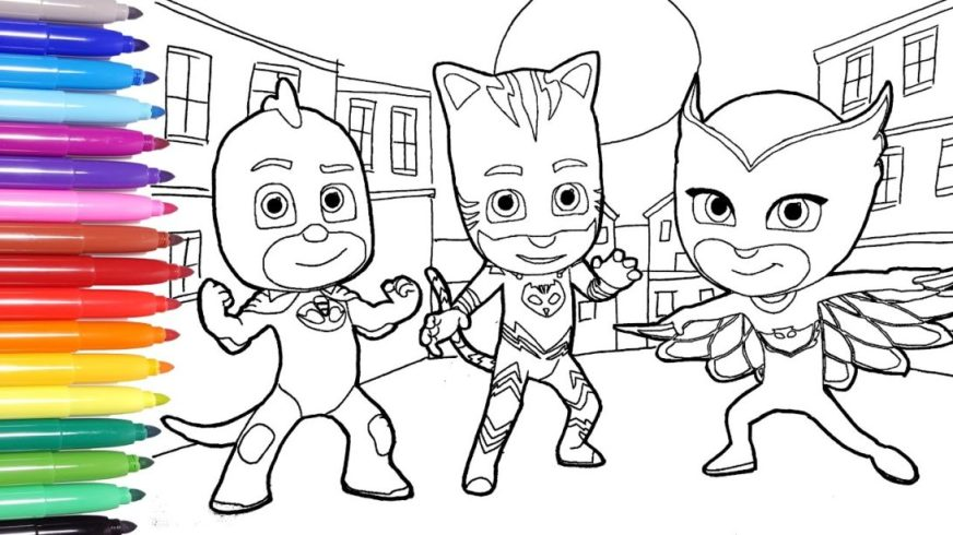 new coloring pages amazing pj masks book page for kids