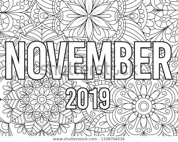 november month coloring page adults mandala stock vector