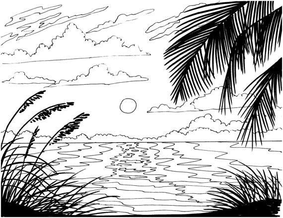 ocean sunset coloring pages