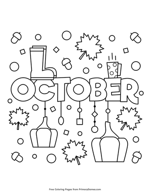 october coloring page free printable pdf from primarygames