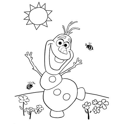 olafs summer coloring page disney family