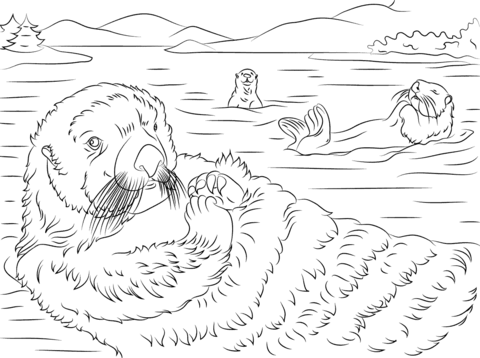 otters coloring pages free coloring pages