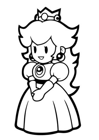 paper princess peach coloring page free printable coloring